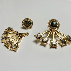 Anthropologie Gold Pave 2-in-1 Front-Back Earrings